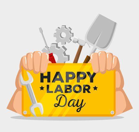 hands with emblem of labor day celebration with screwdriver and shovel, vector illustration