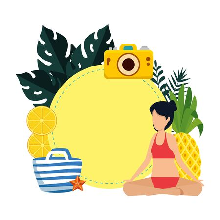 woman with swimsuit practicing yoga and summer icons vector illustration design