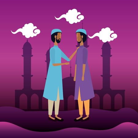 arabs woman and man with clouds and traditional clouds to eid al adha, vector illustration  イラスト・ベクター素材