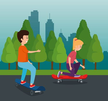 girl and boy kids playing with skateboard in the park with trees vector illustration