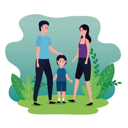 man and woman couple with their cute son and plants leaves, vector illustration Ilustrace