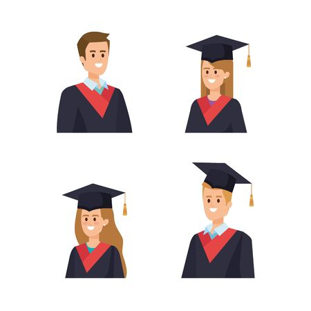 set of man and woman university graduation with rope vector illustration Ilustrace