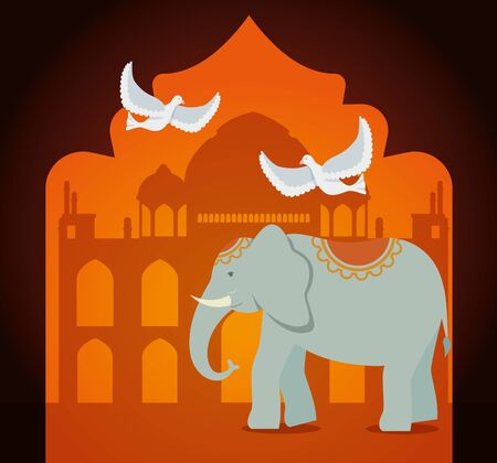 poster of taj mahal with elephant and doves decoration to independence day vector illustration 일러스트
