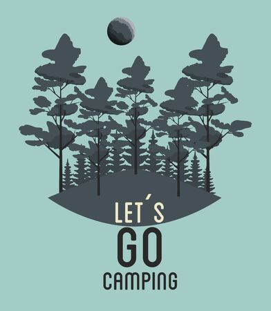 wanderlust adventure with trees and moon landscape vector illustration  イラスト・ベクター素材