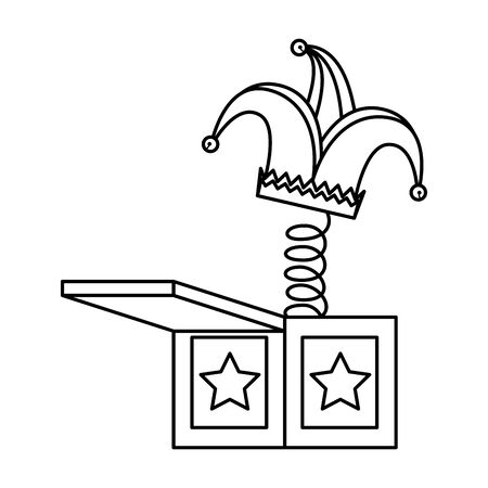 jester hat in surprise box fools day icon vector illustration design 向量圖像