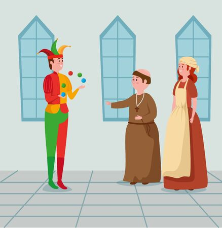 joker with man monk and woman medieval peasant to tale character, vector illustration