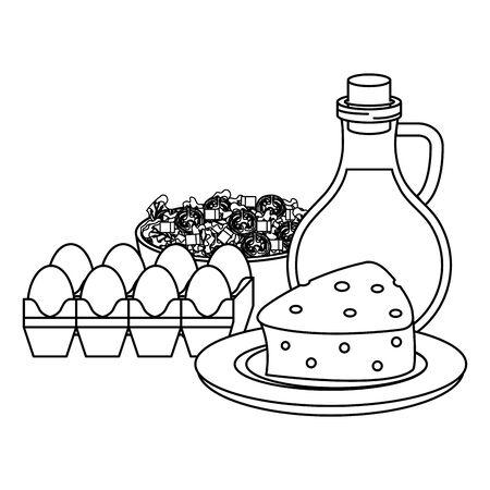 ceramic bowl with vegetables salad and olive oil vector illustration design Standard-Bild - 129824137
