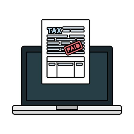 laptop computer with tax documents vector illustration design Illusztráció