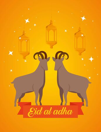 banner of traditional deers sacrifice celebration to eid al adha, vector illustration