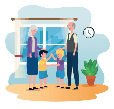 old woman and man couple with their grandsons to family together, vector illustration