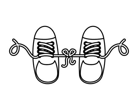 joke with shoes tied vector illustration design Çizim