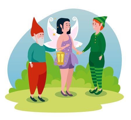 man gnome with girl fairy and boy elf to tale character, vector illustration Standard-Bild - 129824146