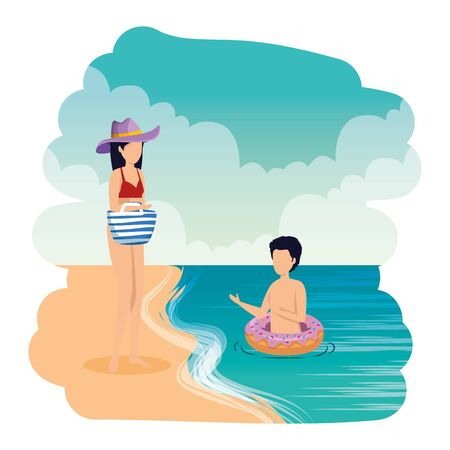 young couple with float and handbag on the beach vector illustration design