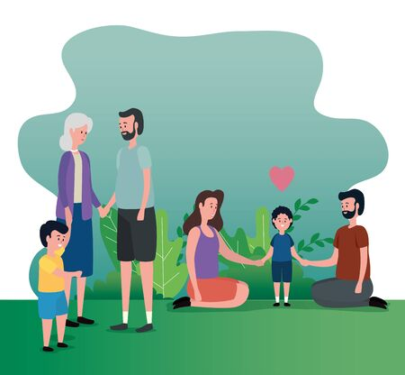 mother and father couple with their sons and their with grandparents to family together, vector illustration Stock fotó - 129824163