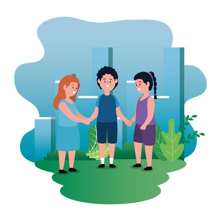 cute girls and boy children with hairstyle and bushes plants, vector illustration Иллюстрация