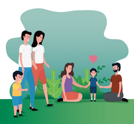 women and men couple with their cute sons and bushes plants, vector illustration Stock fotó - 129824165