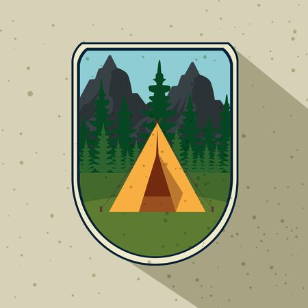 label of camp with pines trees and mountains to wanderlust adventure vector illustration Illusztráció