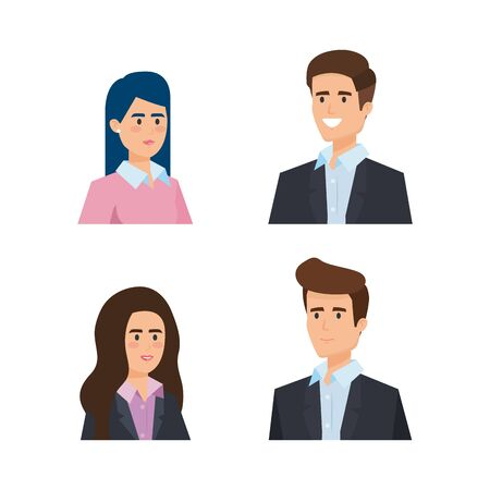 set professional businesswomen and businessmen executive vector illustration 일러스트