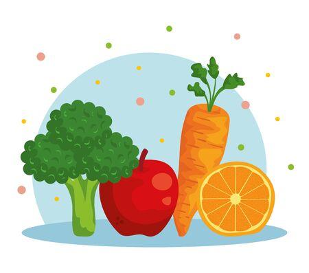 fresh broccoli with apple and carrot with orange to healthy food vector illustration Illusztráció