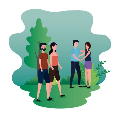 cute women and men couple together with tree and plants, vector illustration Stock fotó - 129824182