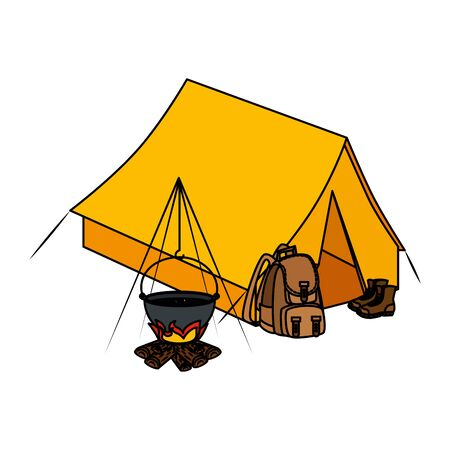 tent camping with wood fire and travelbag vector illustration design