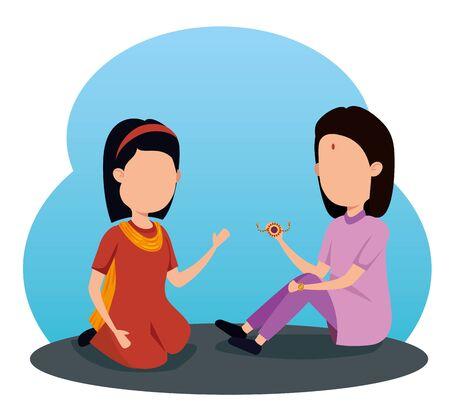 girl and boy siblings hindu tradition to raksha bandhan, vector illustration