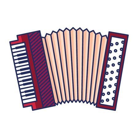 Acordeón instrumento musical icono aislado diseño ilustración vectorial