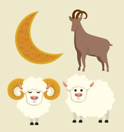 set of moon with deer and sheep sacrifice to eid al adha, vector illustration