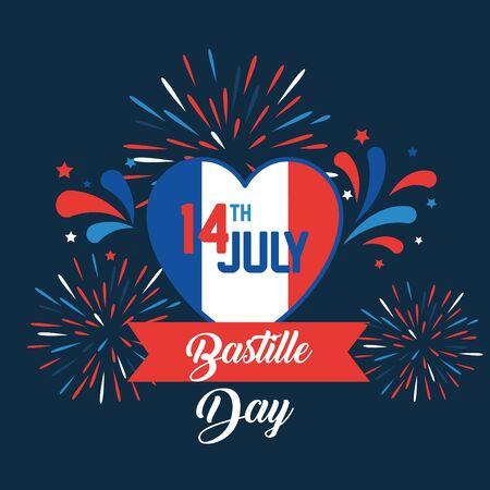 heart france flag with ribbon and fireworks to bastille celebration vector illustration