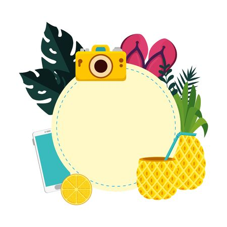 summer circular frame with camera and pineapple vector illustration design Фото со стока - 129824193