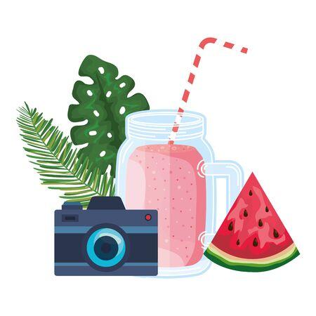 juice watermelon fruit jar with camera vector illustration design Archivio Fotografico - 129824197