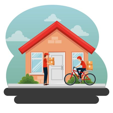 delivery men with boxes packages distribution to transportation service Ilustrace