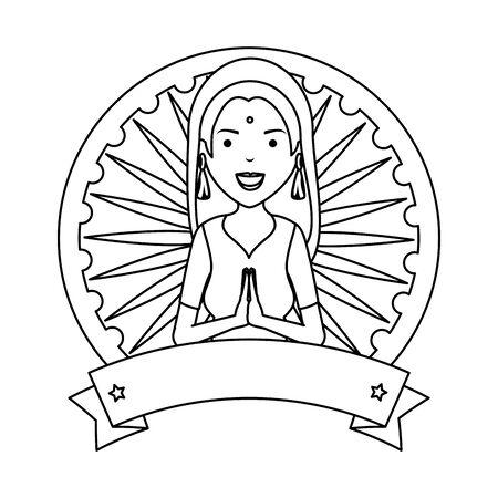 beautiful woman from india circular frame vector illustration design Illusztráció