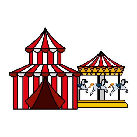 circus tent carnival with carousel vector illustration design 免版税图像 - 129824201