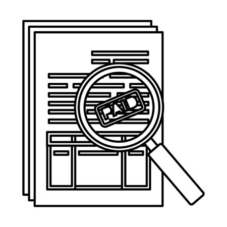tax documents with magnifying glass vector illustartion design Zdjęcie Seryjne - 129824200
