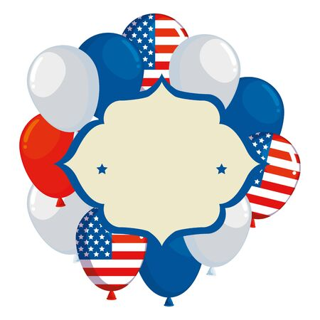 frame with balloons helium floating and usa flag vector illustration design