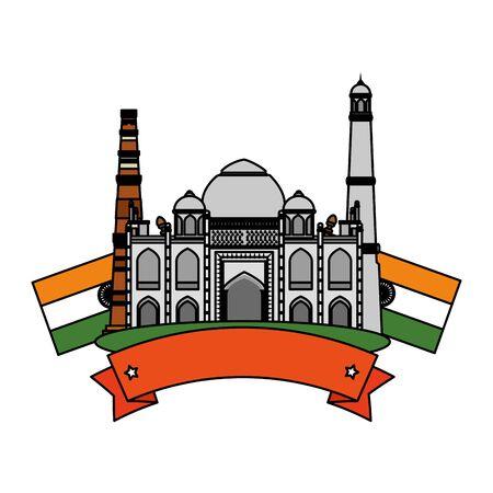 taj mahal indian building with flags vector illustration design Ilustracja