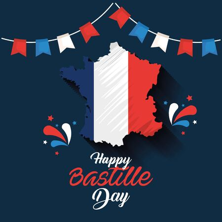 france map with party banner decoration to bastille celebration vector illustration Zdjęcie Seryjne - 129824210