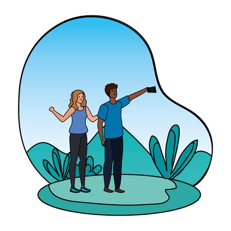 interracial lovers couple taking a selfie in the camp vector illustration design Illusztráció