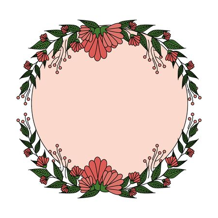 beautiful roses with leafs circular frame vector illustration design
