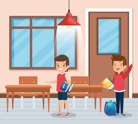 boys students with books and backpack in the classroom to back to school vector illustration