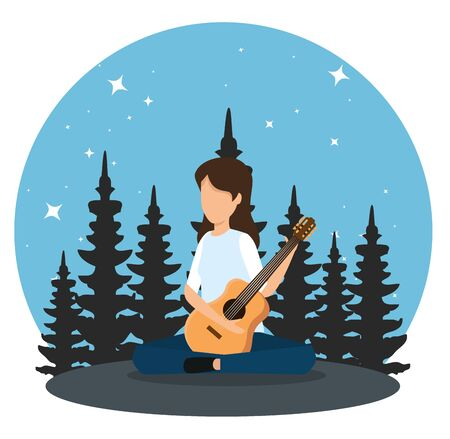 woman play guitar in the nature landscape to tourism adventure vector illustration