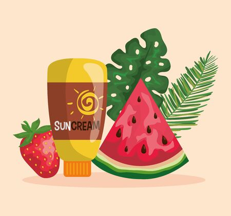 watermelon and strawberry fruits with suncream and leaves to summer time vector illustration Illusztráció