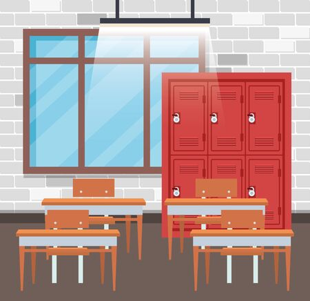education classroom with lockers and desk with window to back to school vector illustration