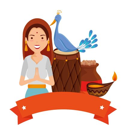 beautiful woman from india with bird and cultural items vector illustration design