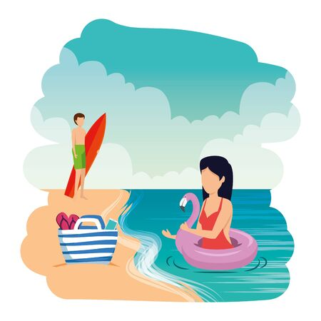 young couple with float and surfboard on the beach vector illustration design Illustration