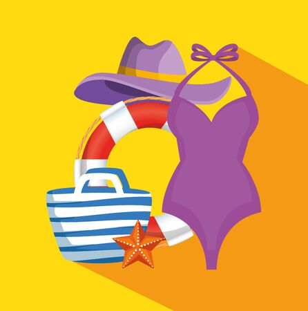 swimsuit with float and hat with purse and tropical starfish to summer time vector illustration Illusztráció