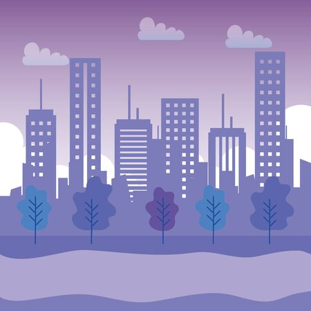 buildings structure with mountains and clouds with trees to urban cityscape, vector illustration