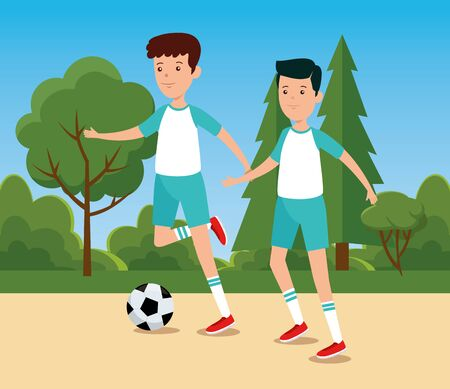 boys practice soccer exercise activity to summer sport vector illustration