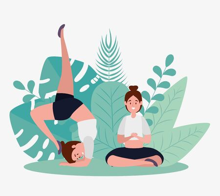 women practice yoga relaxation pose with leaves plants, vector illustration Illustration